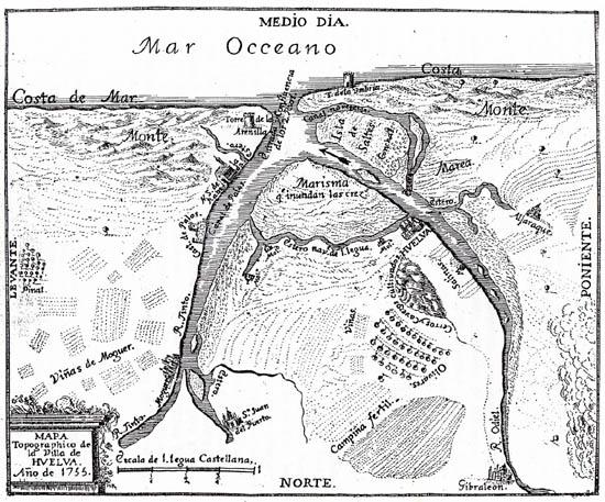 Mapa Huelva siglo XVIII