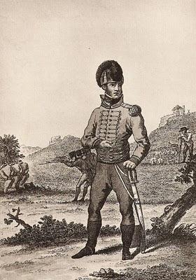 """Antonio García """"El Inmortal"""" con uniforme de Húsares de Castilla (Héroe de la Guerra de Independencia que pudo tomar parte en la batalla de Castillejos)"""