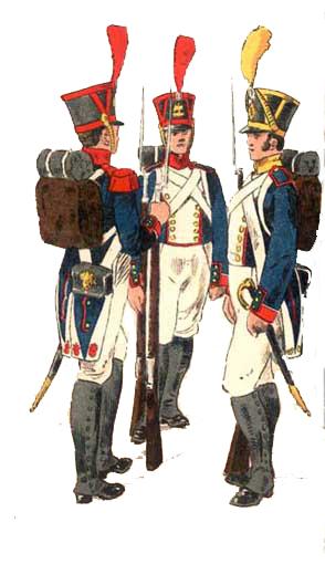 Infanteria francesa, de izquierda a derecha: Granadero, Fusilero y Voltigeur
