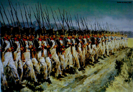 Infantería de línea napoleónica en formación