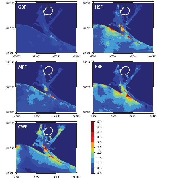 Simulación de inundaciones en función del punto de generación del terremoto.