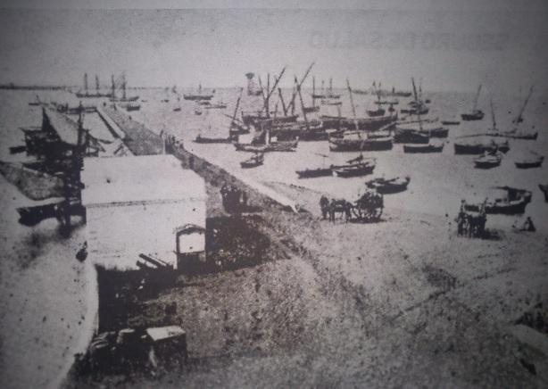 Muelle de Huelva hacia 1860