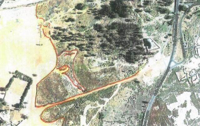 Huelva, zona sur. Esta enorme cabeza de mono es parte de geoglifo con más de 2 kms de largo. Debe representar el dios Thoth, protector de Tartessos.